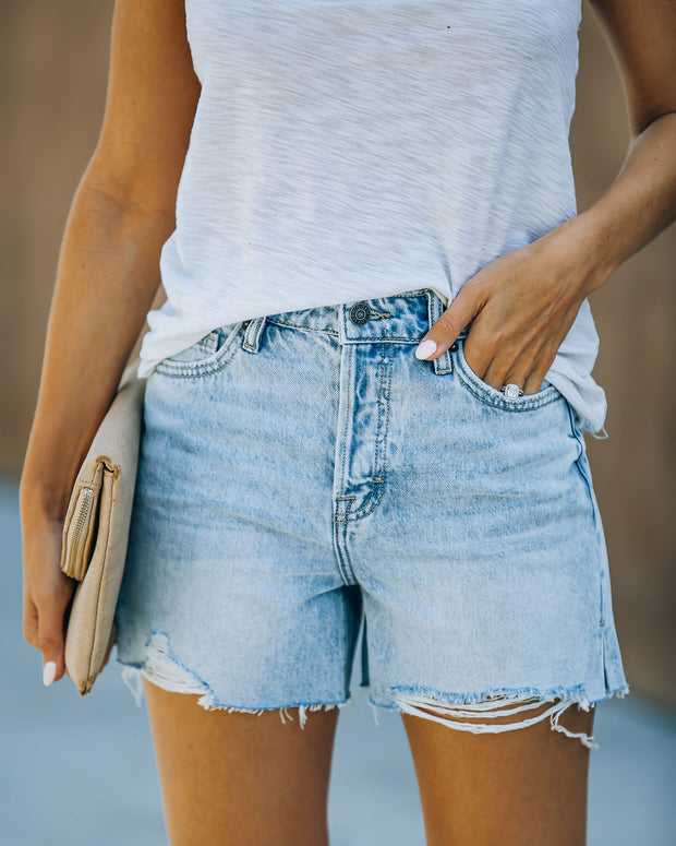 Elena High Rise Distressed Denim Mom Shorts view 1