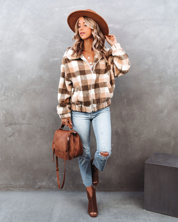 Forever Plaid Pocketed Teddy Jacket