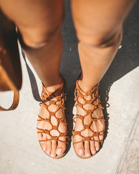 Cadiz Caged Sandal - Chestnut - FINAL SALE