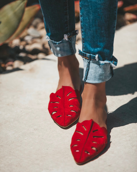 Tropics Faux Suede Slide - Red