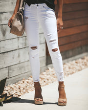 Worldwide Mid Rise Distressed Skinny - White - FINAL SALE