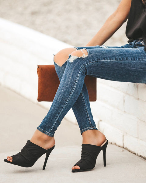 Angelina Scrunch Heel - Black - FINAL SALE