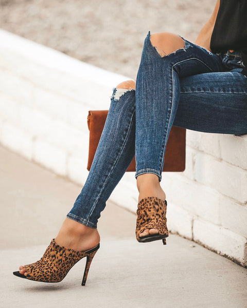 Angelina Scrunch Heel - Leopard - FINAL SALE