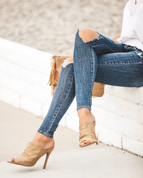 Angelina Scrunch Heel - Sand - FINAL SALE