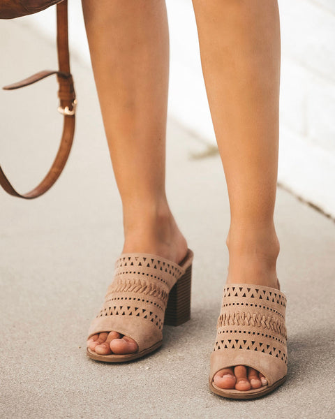 Beverly Hills Braided Open Toe Heeled Mule - Taupe - FINAL SALE