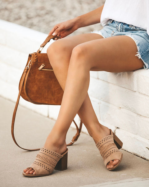 Beverly Hills Braided Open Toe Heeled Mule - Taupe