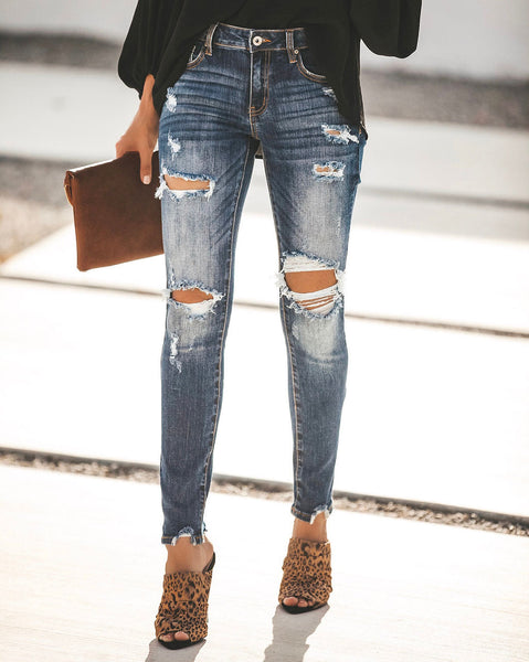 Walk The Walk Mid Rise Distressed Skinny