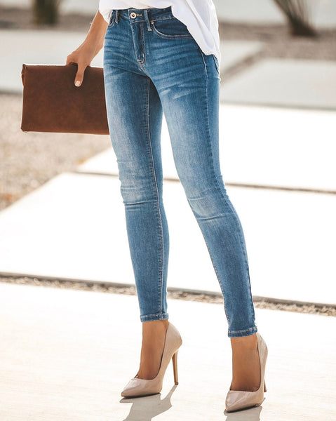 Just The Basics Mid Rise Denim Skinnies - FINAL SALE
