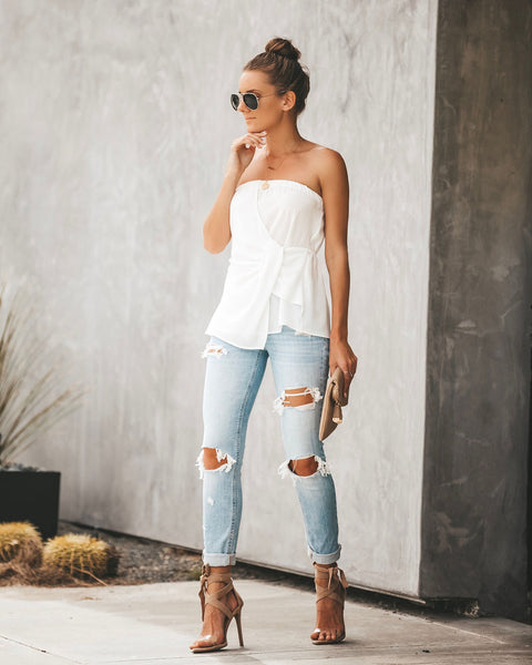 Plot Twist Strapless Top - White