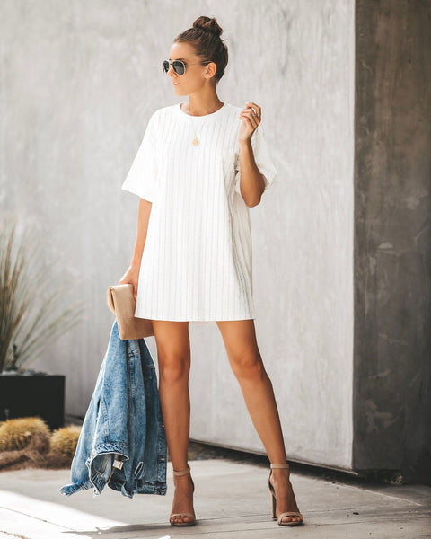 Shine Bright Cotton Embellished T-Shirt Dress - White - FINAL SALE