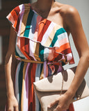 Merry Go Round Striped One Shoulder Dress - FINAL SALE