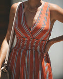 Take Me With You Smocked Jumpsuit - Rust - FINAL SALE