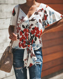 Lei Floral Button Down Tie Top