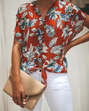 Amber Nectar Button Down Tie Top
