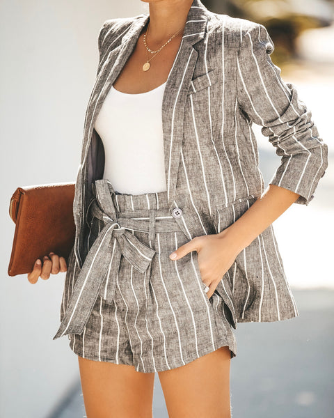 Walk The Line Pocketed Linen Blazer - FINAL SALE