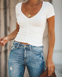 Young At Heart Ruched Top - Off White