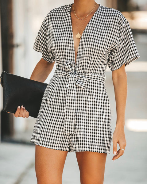 Checked Out Pocketed Romper - FINAL SALE