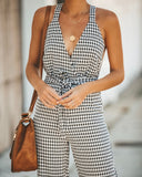 That's The Way It Is Adjustable Gingham Jumpsuit