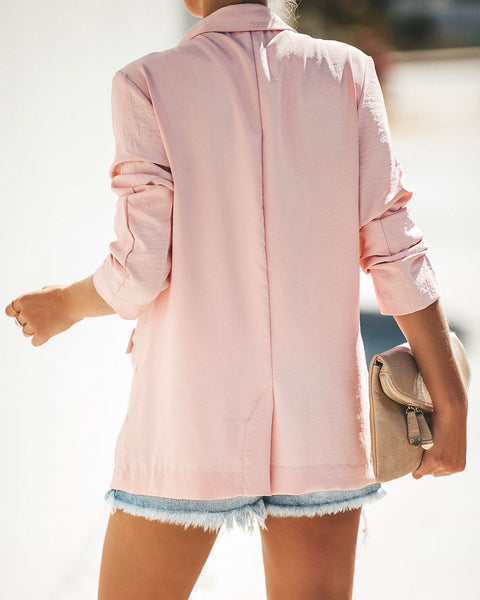 Pretty In Pink Pocketed Blazer