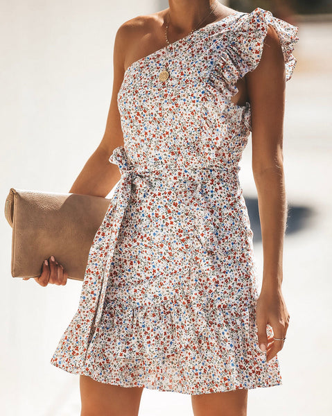 Buy Me Flowers One Shoulder Dress