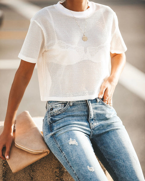 Don't Sweat The Small Stuff Mesh Crop Top - White