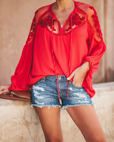 Formal Invitation Lace Blouse - Red