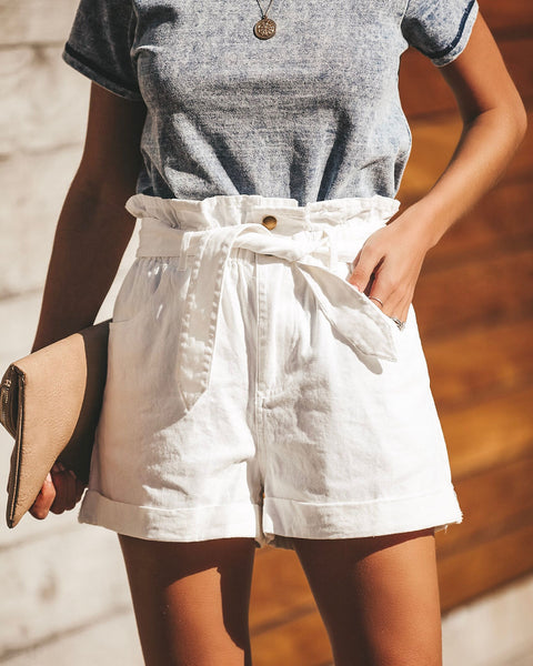 Maddox Cotton Pocketed Paper Bag Waist Shorts - Vintage White