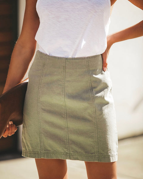 Allure Cotton Skirt - Olive