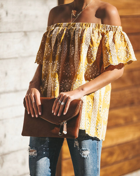 Sun Blooms Off The Shoulder Cotton Embroidered Top