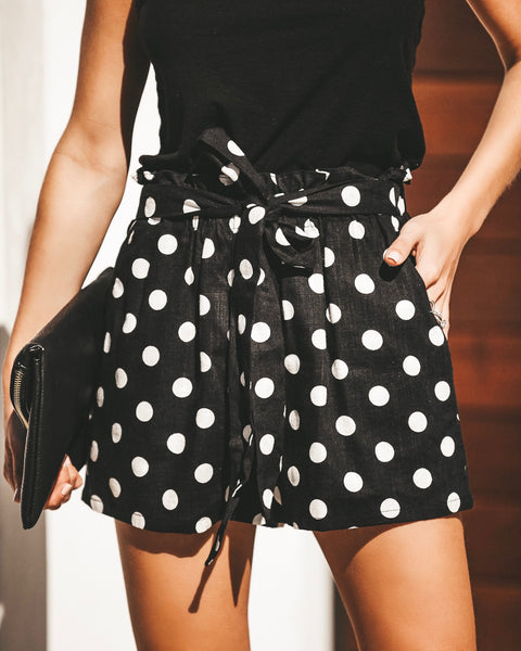 Caroline Cotton + Linen Pocketed Polka Dot Shorts