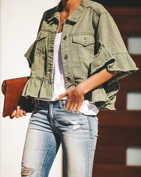 Bella Ruffle Denim Jacket - Olive