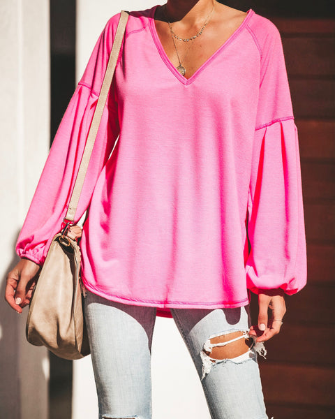Neon Lights Balloon Sleeve Knit Top