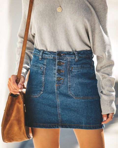 Get In The Groove Pocketed Denim Skirt