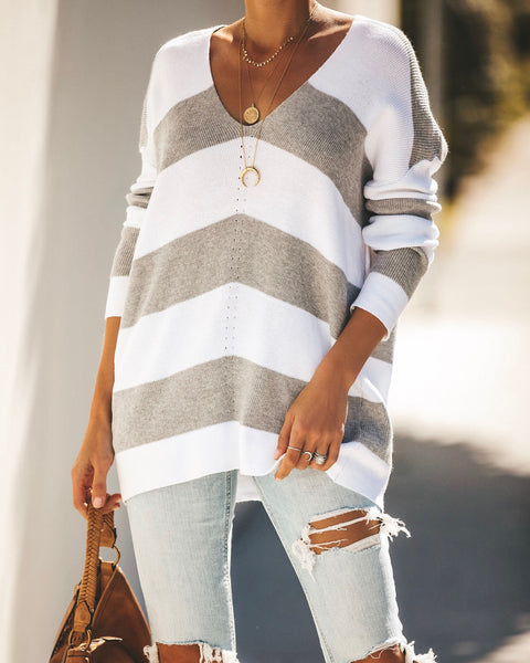 Kimberly Striped Knit Sweater - Heather Grey