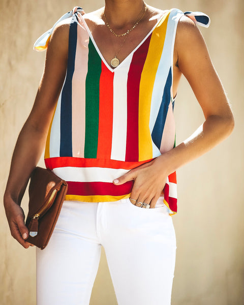 Be Colorful Striped Tie Tank