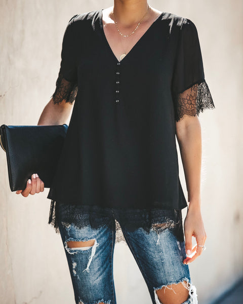 Where You Are Lace Trim Top - Black