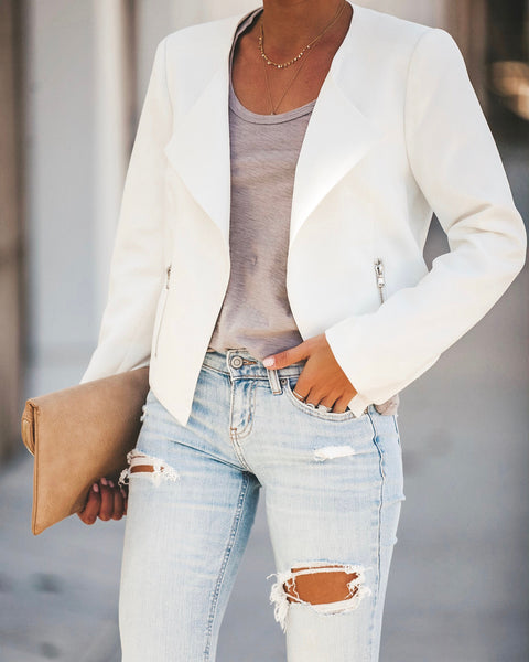 Work Hard Play Hard Pocketed Asymm Blazer - White