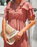 Simple Moments Swiss Dot Maxi Dress - Dusty Rose