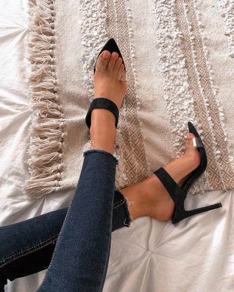 All Or Nothing Clear Strap Heels - Black