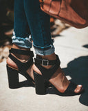 Niko Wooden Wrap Heel - Black