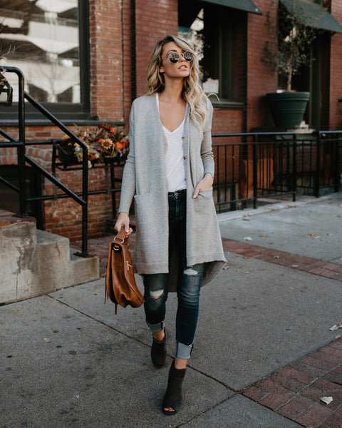My Go To Pocketed Cardigan - Heather Grey