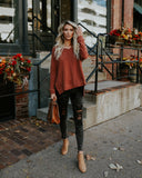 Danni Cotton Knit Top - Rust