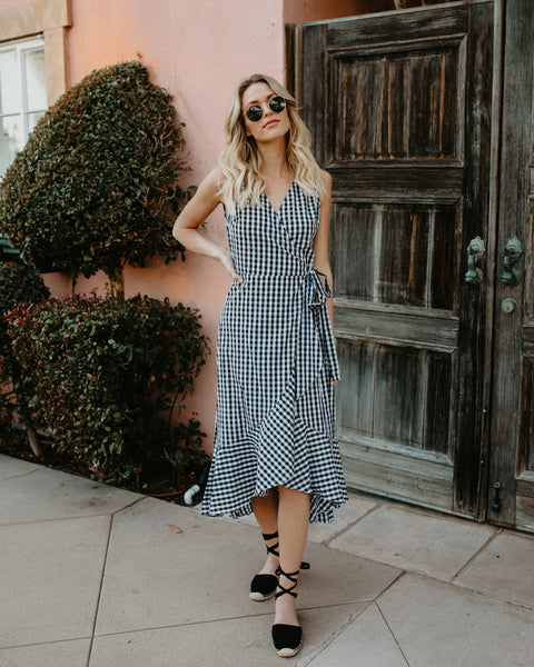 Check Me Out Gingham Wrap Dress