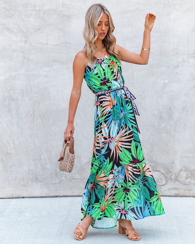 Find Paradise Palm Print Maxi Dress