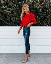 First Choice Cropped Ruffle Sweater - Red