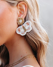 Fly Away Beaded Statement Earrings - White view 3