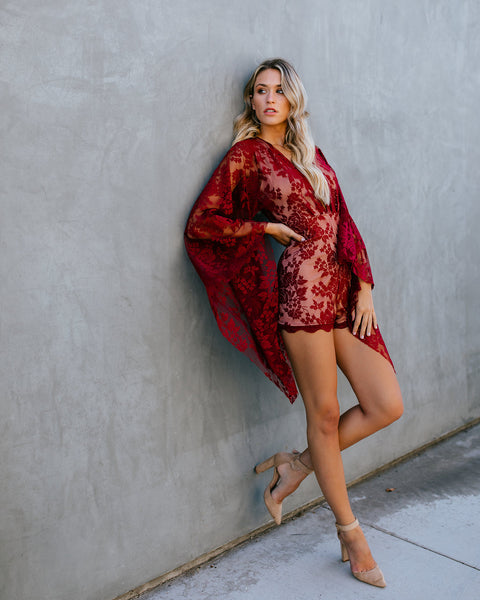 Focal Point Lace Kimono Sleeve Romper - Wine