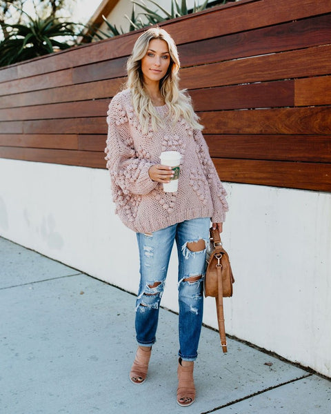 Follow Your Heart Knit Sweater - Mauve