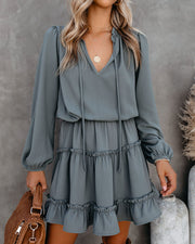 Foxy Ruffle Tiered Dress - Grey