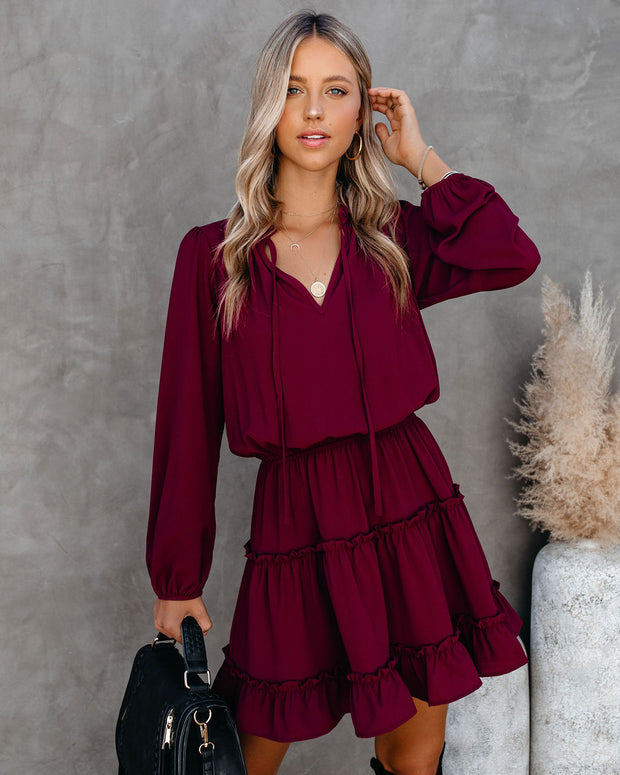 Foxy Ruffle Tiered Dress - Wine